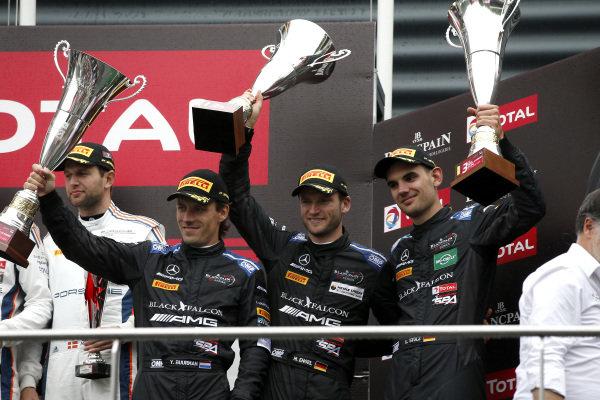 Podium: third place #4 Mercedes-AMG Team Black Falcon Mercedes-AMG GT3: Yelmer Buurman, Luca Stolz, Maro Engel.