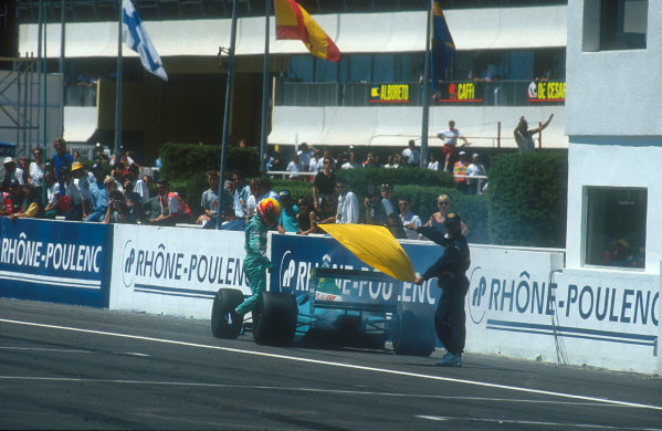 1990 French Grand Prix.Paul Ricard, Le Castellet, France.6-8 July 1990.Mauricio Gugelmin (Leyton House CG901 Judd) retires on lap 58 with an engine failure after he had been running in a comfortable 2nd position.Ref-90 FRA 16.World Copyright - LAT Photographic