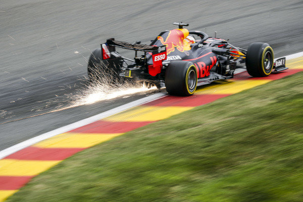 Sparks cascade from the car of Max Verstappen, Red Bull Racing RB16