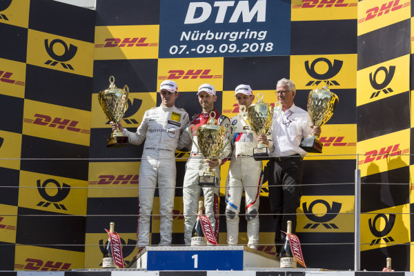 Podium: Race winner René Rast, Audi Sport Team Rosberg, second place Paul Di Resta, Mercedes-AMG Team HWA, Mercedes-AMG C63 DTM and third place Marco Wittmann, BMW Team RMG, BMW M4 DTM.
