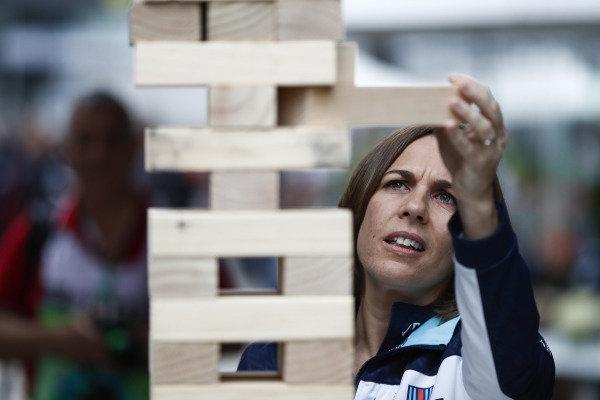 Claire Williams, Deputy Team Principal, Williams Racing, plays a giant Jenga game