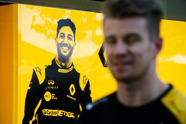 Nico Hulkenberg, Renault F1 Team in front of a graphic for Daniel Ricciardo, Renault F1 Team