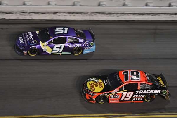 #51: Cody Ware, Petty Ware Racing, Chevrolet Camaro, #19: Martin Truex Jr., Joe Gibbs Racing, Toyota Camry