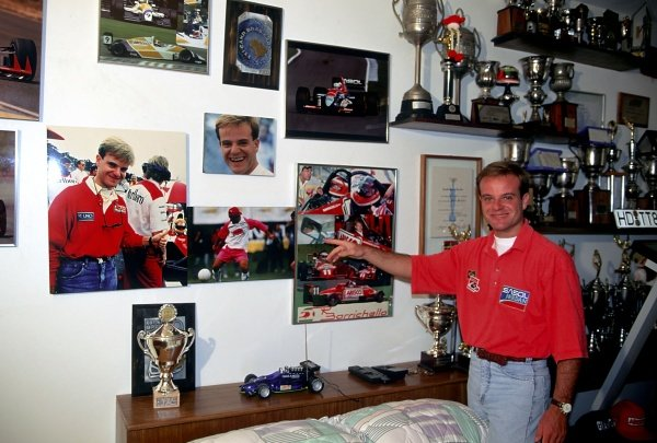 Rubens Barrichello (BRA) Jordan at home in Brazil with some of his trophies and racing memorabilia.
