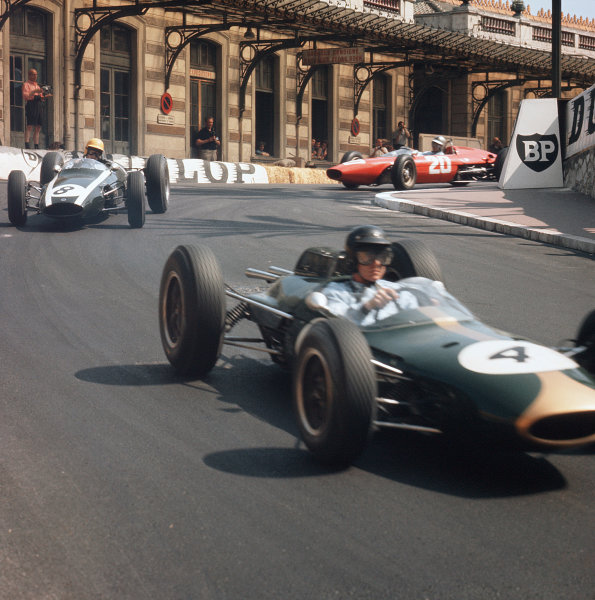 Monte Carlo, Monaco.23-26 May 1963.Dan Gurney (Brabham BT7 Climax) leads Tony Maggs (Cooper T66 Climax) and Willy Mairesse (Ferrari Dino 156).Ref-3/0933.World Copyright - LAT Photographic
