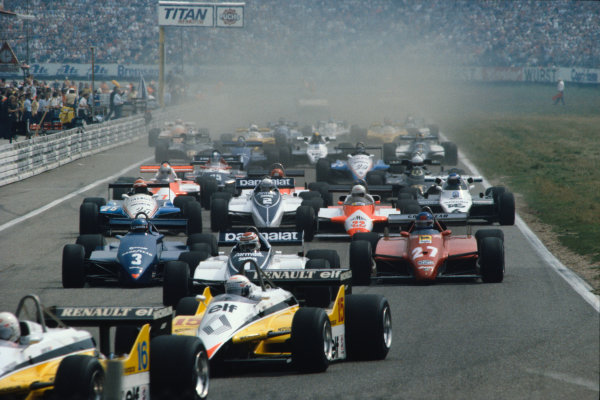 Hockenheim, Germany.6-8 August 1982.Rene Arnoux and Alain Prost (both Renault RE30B's) lead the field away at the start.Ref-82 GER 45.World Copyright - LAT Photographic