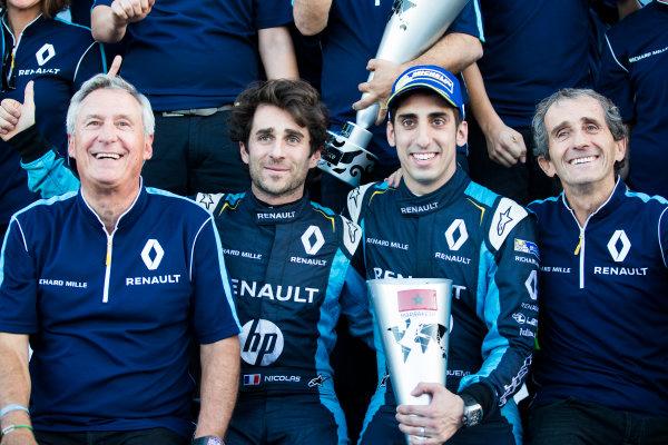 2016/2017 FIA Formula E Championship. Marrakesh ePrix, Circuit International Automobile Moulay El Hassan, Marrakesh, Morocco. Nicolas Prost (FRA), Renault e.Dams, Spark-Renault, Renault Z.E 16. & Sebastien Buemi (SUI), Renault e.Dams, Spark-Renault, Renault Z.E 16.  Saturday 12 November 2016. Photo: Sam Bloxham/LAT/Formula E ref: Digital Image _SBB7806