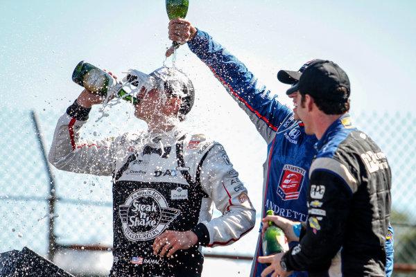 31 July - 2 August, 2015, Lexington, Ohio USA Graham Rahal celebrating with Simon Pagenaud and Justin Wilson ©2015, Sam Cobb LAT Photo USA