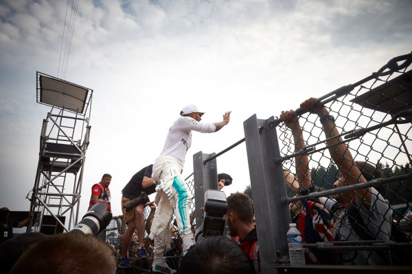 Spa Francorchamps, Belgium.  Sunday 27 August 2017. Lewis Hamilton, Mercedes AMG, 1st Position, celebrates victory with the fans. World Copyright: Steve Etherington/LAT Images  ref: Digital Image SNE12755