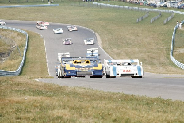 1973 Can-Am Challenge Cup.CanAm race. Watkins Glen, New York State, United States (USA). 21 July 1973.Mark Donohue (Porsche 917/30KL) and George Follmer (Porsche 917/10K) lead at the start. Donohue finished in 1st position.World Copyright: LAT PhotographicRef: 35mm transparency 73CANAM09