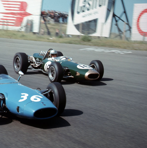 Zandvoort, Holland.22-24 July 1966.Jack Brabham (Brabham BT19 Repco) passes Guy Ligier (Cooper T81 Maserati). They finished in 1st and 9th positions respectively.Ref-3/2297.World Copyright - LAT Photographic