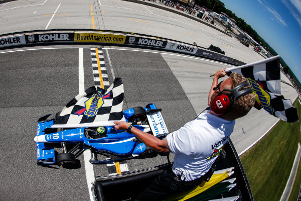 24-26 June, 2016, Elkhart Lake, Wisconsin USA Tony Kanaan crosses start finish ?2016, Sam Cobb LAT Photo USA