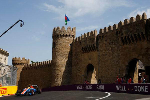 Baku City Circuit, Baku, Azerbaijan. Saturday 18 June 2016. Rio Haryanto, Manor MRT05 Mercedes. World Copyright: Andy Hone/LAT Photographic ref: Digital Image _ONZ1315