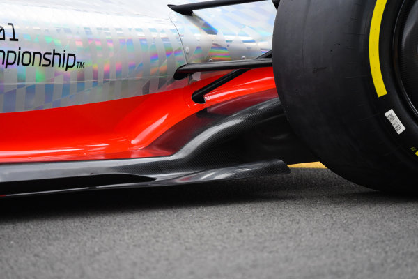 The 2022 Formula 1 car launch event on the Silverstone grid. Sidepod and diffuser detail