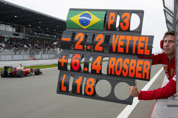 Felipe Massa's physio Matteo Orsi holds out the driver's pit board.