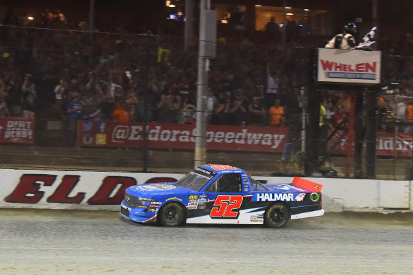 #52: Stewart Friesen, Halmar Friesen Racing, Chevrolet Silverado Halmar International drives under the checkered flag to win
