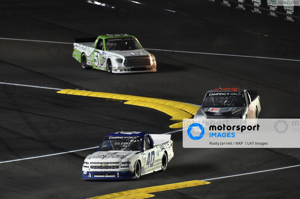 #40: Ryan Truex, Niece Motorsports, Chevrolet Silverado Jacob Companies and #51: Parker Chase, Kyle Busch Motorsports, Toyota Tundra Vertical Bridge