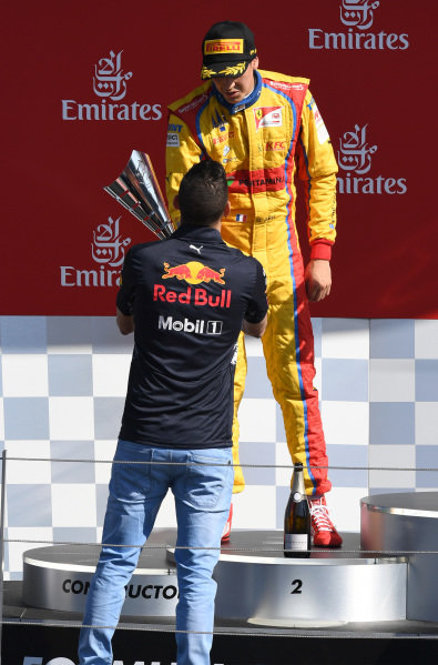 Giuliano Alesi (FRA) Trident on the podium with the trophy at GP3 Series, Rd2, Spielberg, Austria, 7-9 July 2017.