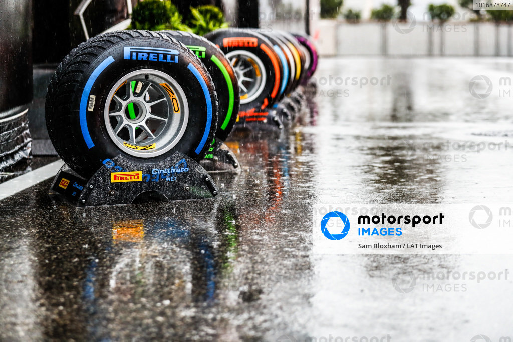 Pirelli tyres in the paddock.