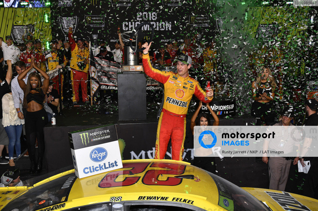 #22: Joey Logano, Team Penske, Ford Fusion Shell Pennzoil wins the 2018 NASCAR Monster Energy Series Championship.