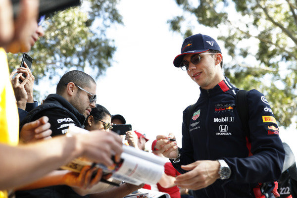 Pierre Gasly, Red Bull Racing, signs autographs for fans.