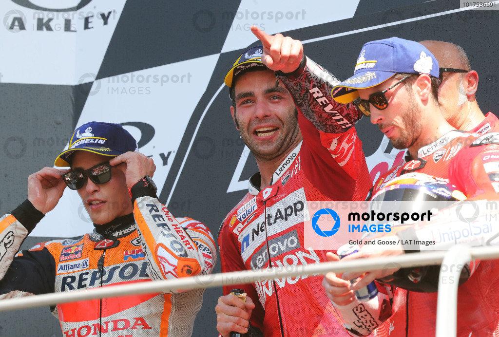 Podium: race winner Danilo Petrucci, Ducati Team, second place Marc Marquez, Repsol Honda Team, third place Andrea Dovizioso, Ducati Team.