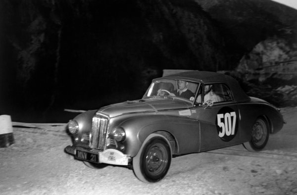 Marseilles to Cannes, France. 10th - 16th July 1953.Stirling Moss / John Cutts (Sunbeam-Talbot Alpine), Coupe des Alpes award, action.World Copyright: LAT Photographic.Ref: 5048B - 9A.