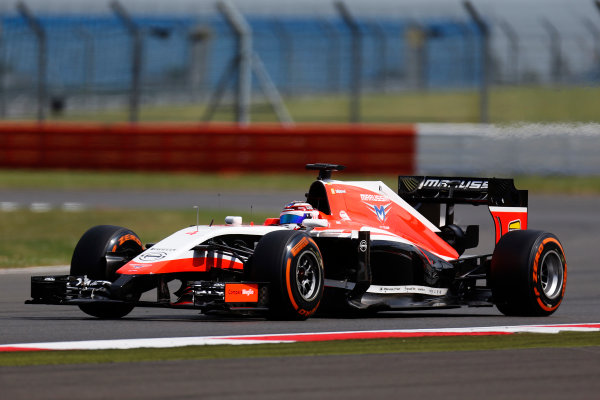 Silverstone, Northamptonshire, England. Wednesday 9 July 2014. Max Chilton, Marussia MR03 Ferrari. World Copyright: Zak Mauger/LAT Photographic. ref: Digital Image _L0U7775
