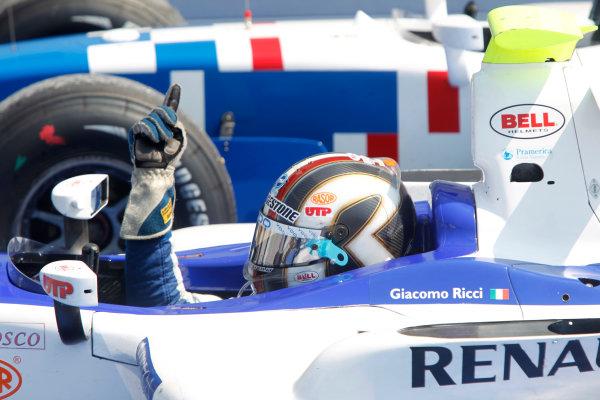 Hungaroring, Budapest, Hungary. 1st August.Sunday Race.Giacomo Ricci (ITA, DPR) celebrates his victory. Photo: Andrew Ferraro/GP2 Media Service.Ref: __Q0C7887 jpg