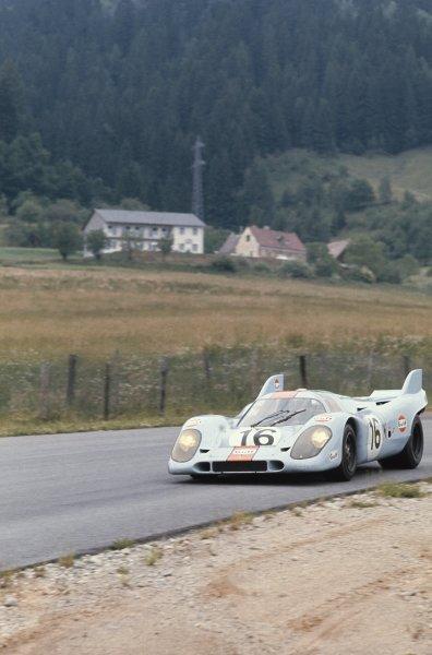 1971 Osterreichring 1000 kms.Osterreichring, Zelweg, Austria.26-27 June 1971.Richard Attwood/Pedro Rodriguez (Porsche 917K) 1st position.Chassis No 034World Copyright - LAT Photographic