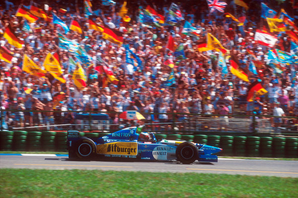 Hockenheim, Germany.28-30 July 1995.Michael Schumacher (Benetton B195 Renault) 1st position.Ref-95 GER 01.World Copyright - LAT Photographic