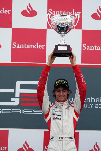 Race winner Esteban Gutierrez (MEX) ART Grand Prix celebrates on the podium.GP3 Series, Rd 5, Race 2, Hockenheim, Germany, Sunday 25 July 2010.