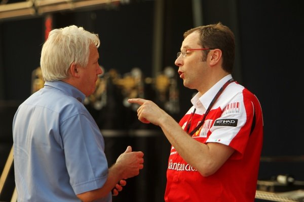 (L to R): Charlie Whiting (GBR) FIA Delegate with Stefano Domenicali (ITA) Ferrari General Director.