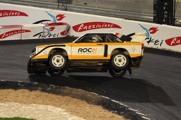 ROC organizer and former rally driver Michele Mouton (FRA) rolls an Audi Quattro Sport during some demonstration laps. 2010 Race of Champions, ESPRIT Arena, Dusseldorf, Germany, 27-28 November 2010.