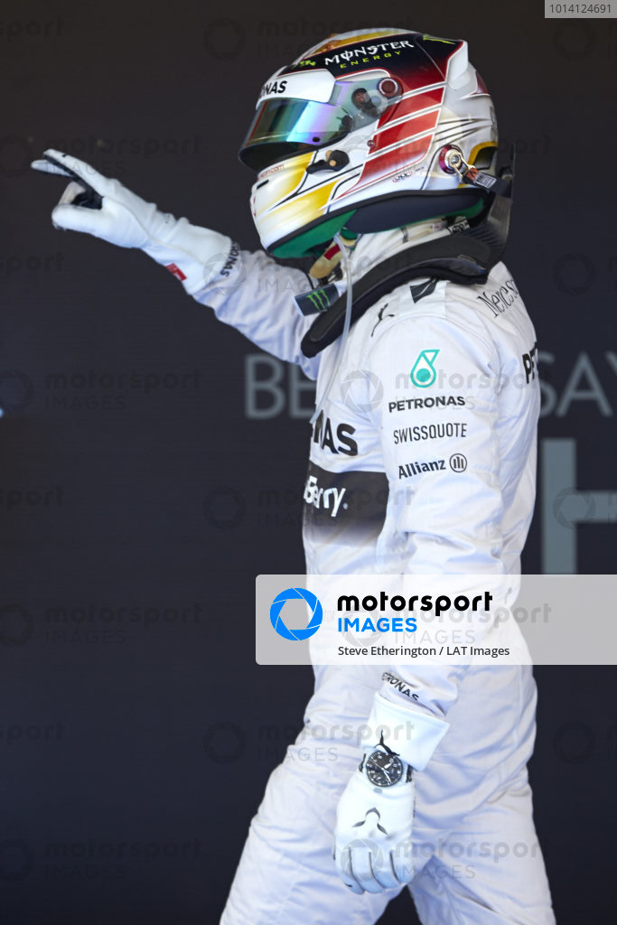 Circuit de Catalunya, Barcelona, Spain. Saturday 10 May 2014. Lewis Hamilton, Mercedes AMG, celebrates pole in Parc Ferme. World Copyright: Steve EtheringtonLAT Photographic. ref: Digital Image SNE14891 copy