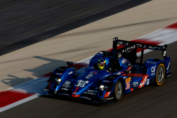 2015 FIA World Endurance Championship Bahrain 6-Hours Bahrain International Circuit, Bahrain Saturday 21 November 2015. Nelson Panciatici, Paul Loup Chatin, Tom Dillmann (#36 LMP2 Signatech Alpine Alpine A450B Nissan). World Copyright: Alastair Staley/LAT Photographic ref: Digital Image _79P0455