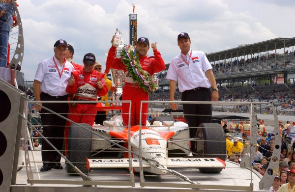 87th Indianapolis 500, Indianapolis Motor Speedway, Speedway, Indiana, USA 25 May,2003Team Penske on the podium.World Copyright-F Peirce Williams 2003 LAT Photographicref: Digital Image Only