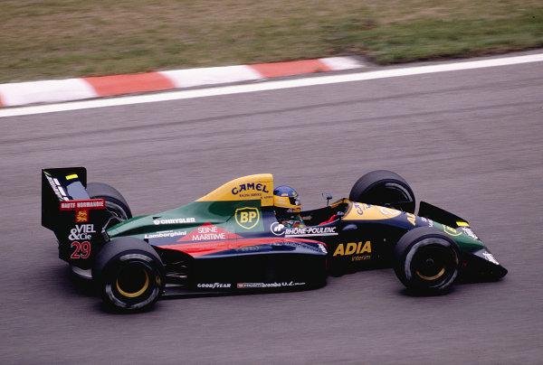1989 Belgian Grand Prix.Spa-Francorchamps, Belgian.25-27 August 1989.Michele Alboreto (Larrousse/Lola LC89 Lamborghini).Ref-89 BEL 11.World Copyright - LAT Photographic
