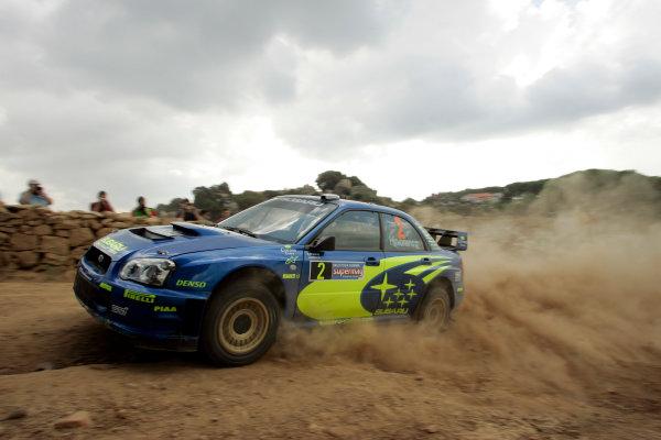 2004 FIA World Rally Champs. Round thirteen, Rally Italia Sardinia.30th September - 3rd October 2004.Mikko Hirvonen, Subaru, actionWorld Copyright: McKlein/LAT
