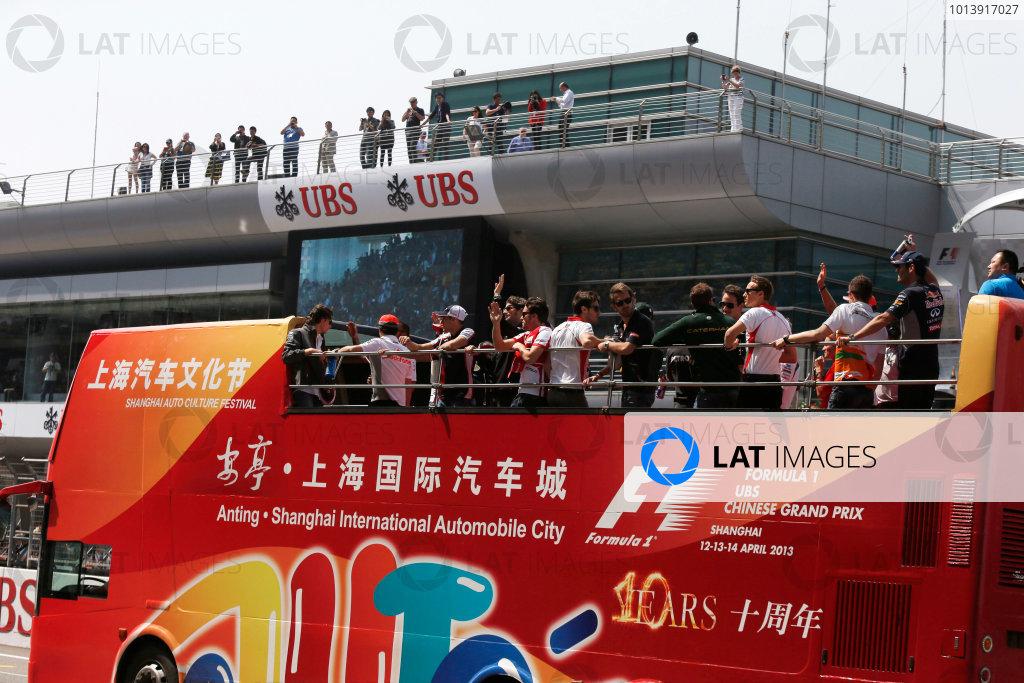 Shanghai International Circuit, Shanghai, China Sunday 14th April 2013 The drivers parade. World Copyright: Charles Coates/LAT Photographic ref: Digital Image _N7T5708