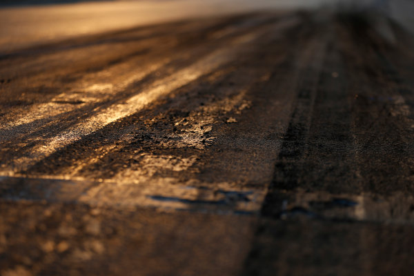 Hungaroring, Budapest, Hungary. Friday 24 July 2015. Track surface detail as the sun rises. World Copyright: Charles Coates/LAT Photographic ref: Digital Image _N7T6245