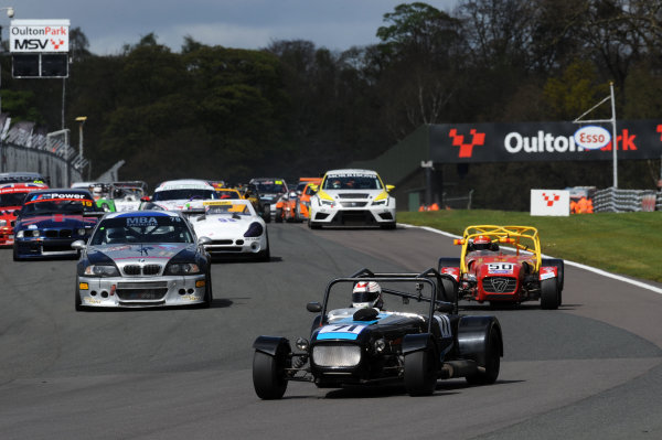 2017 DDMC Northern Saloon & Sports Car Championship, Oulton Park, Cheshire. 15th April 2017. Race Start, Rob Spencer Stuart Taylor Lowcost leads. World Copyright: JEP/LAT Images.