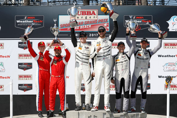 2017 IMSA WeatherTech SportsCar Championship BUBBA burger Sports Car Grand Prix at Long Beach Streets of Long Beach, CA USA Saturday 8 April 2017 63, Ferrari, Ferrari 488 GT3, GTD, Alessandro Balzan, Christina Nielsen, 50, Mercedes, Mercedes AMG GT3, GTD, Gunnar Jeannette, Cooper MacNeil, 33, Mercedes, Mercedes AMG GT3, GTD, Ben Keating, Jeroen Bleekemolen, podium World Copyright: Michael L. Levitt LAT Images ref: Digital Image levitt-0417-lbgp_09270