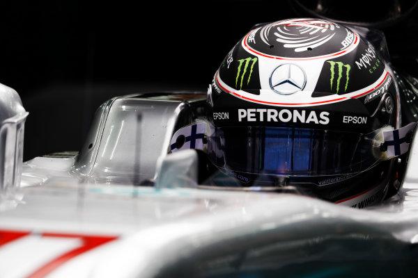 Bahrain International Circuit, Sakhir, Bahrain.  Wednesday 19 April 2017. Valtteri Bottas, Mercedes AMG, in cockpit. World Copyright: Glenn Dunbar/LAT Images ref: Digital Image _X4I4724