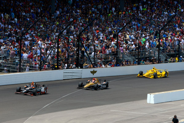 29 May, 2016, Indianapolis, Indiana, USA Alex Tagliani (#35), James Hinchcliffe (#5) and Helio Castroneves (#3) ?2016, F. Peirce Williams LAT Photo USA
