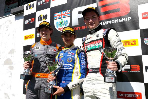 2016 BRDC F3 Championship, Spa-Francorchamps, Belgium. 7th - 9th July 2016. Race 3 Podium (l-r) Matheus Leist (BRA) Double R Racing BRDC F3, Lando Norris (GBR) Carlin BRDC F3, Will Palmer (GBR) HHC Motorsport BRDC F3. World Copyright: Ebrey / LAT Photographic.