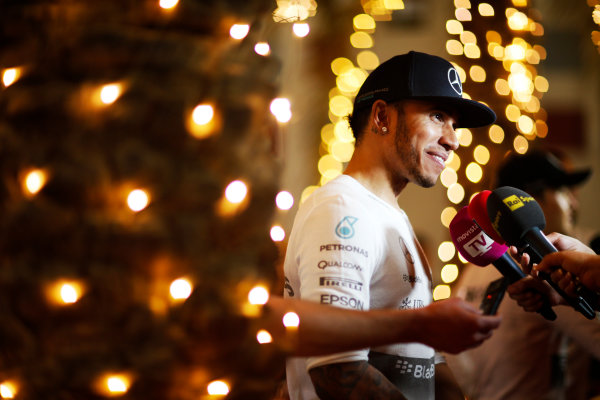 Bahrain International Circuit, Sakhir, Bahrain. Sunday 19 April 2015. Lewis Hamilton, Mercedes AMG, 1st Position, is interviewed after the race. World Copyright: Alastair Staley/LAT Photographic. ref: Digital Image _R6T1189