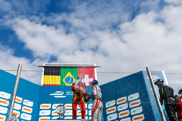 2014/2015 FIA Formula E Championship. Berlin ePrix, Berlin Tempelhof Airport, Germany. Saturday 23 May 2015 Podium. 1st, Lucas di Grassi (BRA)/Audi Abt Sport - Spark-Renault SRT_01E, 2nd, Jerome D'Ambrosio (BEL)/Dragon Racing - Spark-Renault SRT_01E and 3rd, Sebastien Buemi (SWI)/E.dams Renault - Spark-Renault SRT_01E. Photo: Zak Mauger/LAT/Formula E ref: Digital Image _L0U9721