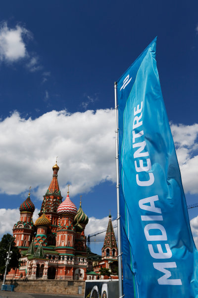 2014/2015 FIA Formula E Championship.  Media Centre sign in front of Saint Basil's Cathedral, Red Square Moscow e-Prix, Moscow, Russia. Thursday 4 June 2015.  Photo: Sam Bloxham/LAT/Formula E ref: Digital Image _SBL3711