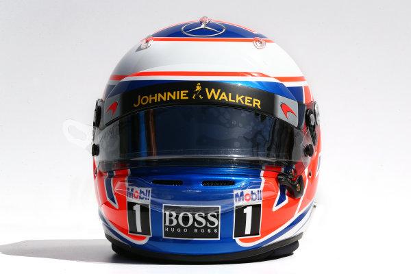 Albert Park, Melbourne, Australia. Thursday 13 March 2014. The helmet of Jenson Button (GBR) McLaren. World Copyright: xpb Images/LAT Photographic. ref: Digital Image 2014helmets06